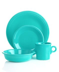 Fiestaware! We love it and collect the colors. Dinner guests at our house each get a different color table setting.