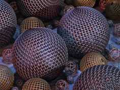 Close-up view of various hollow balls made of wire mesh. 2020, giclée print. Watermarked preview.  #wireballs #balls #hollow #wire #mesh #net #intertwined #metal #metallic #stilllife #gold #silver #copper #closeup #decorative #concretefloor #sinewave #wallart
