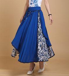 blue  flower Beach Dresses linen long skirt in by lydiadress, $36.99