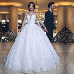 Elegant Lace Appliques Sweetheart Tulle Wedding Dresses Ball Gown,JD 148