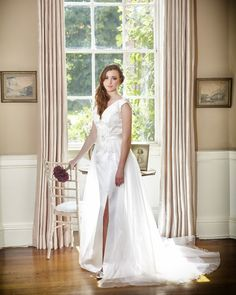 Fleur- Guipure lace and duchess satin dress with detachable organza train.