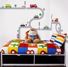 Wandsticker-Wandpuzzle-Wandtattoo-Autobahn-Strassen-Autos-Kinderzimmer-Jungen