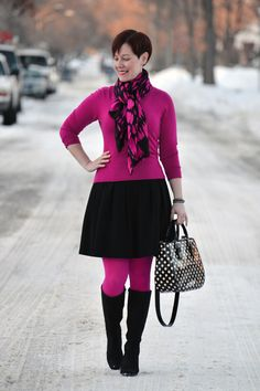 Already Pretty outfit featuring Ikat scarf, pink sweater, black full skirt, pink tights, ECCO Sculptured 65 Tall boots, Kate Spade polka dot bag
