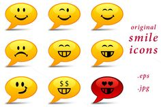 Set of original smile icons - smiles by @Graphicsauthor