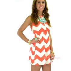 RESTOCKED!!! Chevy To The Levee Coral Halter Dress | Amazing Lace
