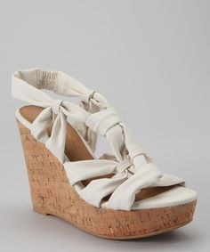 Take a look at this White Yasmina Wedge Sandal by Gwyneth Shoes on #zulily today!