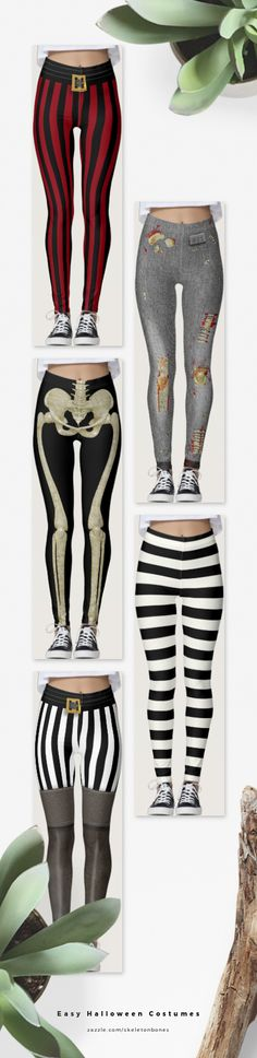 Wear a pair of funky leggings to make an easy halloween costume - how about these printed ones? Easy Pirate, Easy Skeleton and Easy Zombie. Exclusive to @zazzle