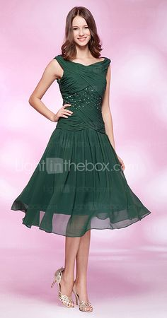 A-line Bateau Knee-length Chiffon Cocktail Dress maybe not the color, but the style for bridesmaids