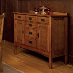 Mission Solid Oak Small Sideboard Buffet | Overstock.com Shopping - Big Discounts on Buffets