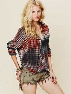 Free People Plaid Wrap Top