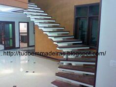 Tudo Em Madeiras Escada De Alvenaria Revestida De Madeira