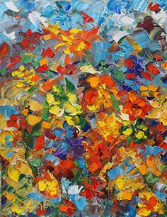 """Daily Painters Abstract Gallery: Original Palette Knife Abstract Floral Painting """"Garden Path"""" by Colorado Impressionist Judith Babcock"""