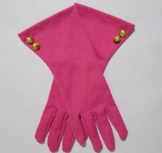 Vintage Bright Pink Gloves Flared Cuffs Gold by TntbrbefanDolls