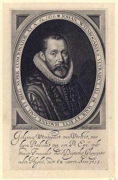 Willem Jacobsz. Delff | Portret van Johannes Wtenbogaert op 62-jarige leeftijd, Willem Jacobsz. Delff, 1619 | Portret van predikant Johannes Wtenbogaert op 62-jarige leeftijd, borststuk met molenkraag en toga, in ovale omlijsting met Latijns opschrift. In ondermarge vier regels Latijns opschrift.