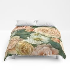 Floral rose pattern Comforters by StrijkDesign | Society6
