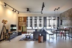 Industrial style living room | Singapore HDB