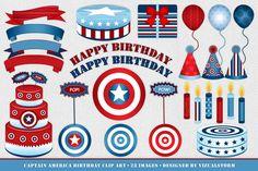 Captain America Birthday Clipart by VizualStorm on Creative Market Captain America Party, Captain America Birthday, Captain America Civil War, 4th Birthday Parties, Happy Birthday, Birthday Clips, Illustrator, Clip Art, Boys