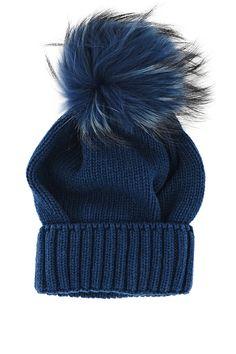 eee516c2e24 MARINI SILVANO FLUFFY Indigo Knitted Fur Beanie - ACCESSORIES