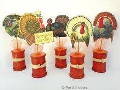 Fall Spool Craft: Vintage Thanksgiving Turkeys - Live Creatively Inspired
