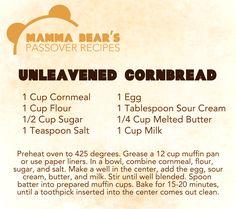 Passover / Feast of Unleavened Bread Recipe: Unleavened Cornbread