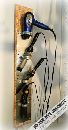 DIY Hair Tool Organizer. Do it yourself a hair tool organizer and prevent the mess of cords.