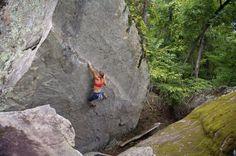 Lisa Rands bouldering the Grand Dragon at Horseshoe Canyon Rnach.