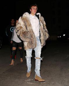 Justin Bieber Wears Burberry Fur Coat, Fear Of God Jeans and Saint Laurent Boots  |  UpscaleHype