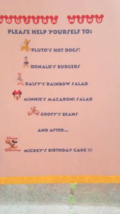 Mickey Mouse Clubhouse Party Menu