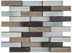 "#AshlandAndHalsted #LavaStone #Reclaimed #ElevationBrick #Mosaic (11-7/8"" x 9-7/8"")  | #MidAmericaTile #InnovativeLooks #BrickMosaic #tile #3D #dimensional #backsplash"