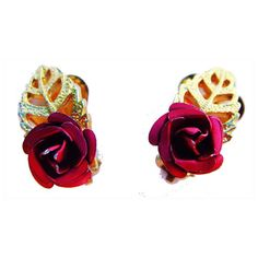 Ruby red and gold vintage rose clip-on earrings ($19) ❤ liked on Polyvore