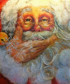 Original Pinner ~ Santa With Snowflakes - NEW!  My childhood friend is a…