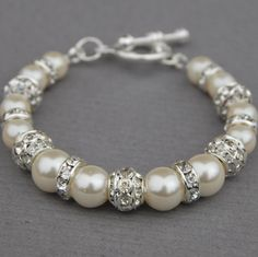 Sparkling Ivory Pearl Bracelet Bling Wedding Jewelry by AMIdesigns, $22.00