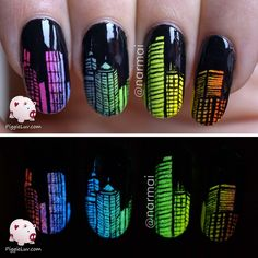 Who needs more freehand glow in the dark nail art? Me!!!I've been walking around with this idea for a while now... that's how it goes with most of my nail designs. I get an idea, my head becomes an incubator for the idea to grow in, it gets shape, color, materials, and then finally it gets to be born... onto my nails... okay that's gross :-p For the gradient, I used @serumno5 I Gleam In Pink, Krypton-Brite, Solar Power & Infrared, as well as @parrot_polish Linckia. I painted the buildings…