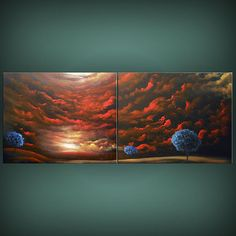 art painting abstract red tree painting red cloud tree by mattsart, $375.00