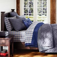 Jackson - grey bedding to mix with red, white and blues Finley Solid Quilt + Sham, Grey Dorm Bedding Sets, Grey Bedding, Teen Bedroom, Bedroom Decor, Bedroom Ideas, Pirate Bedroom, E Room, Dorm Room, Bedroom Retreat