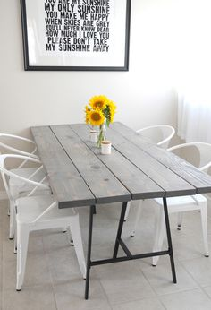 Going to DIY this for the apartment. A bit smaller and different legs but I like the tabletop. Different chairs too