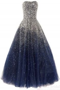 Ball Gown Prom Dress With Beading Corset Back Tulle Long Navy Blue Prom Gown For Teens