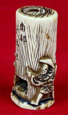 Online veilinghuis Catawiki: Kabori netsuke boom hertshoorn - Japan - 19e eeuw
