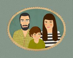 Etsy listing at https://www.etsy.com/listing/162738160/custom-family-portrait-three-person