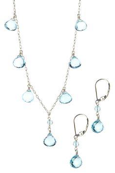 Sterling Silver Teardrop Blue Topaz Necklace & Earrings Set