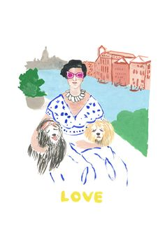Illustration of Peggy Guggenheim, she loved her dogs, made by illustrator Gertrudis Shaw.
