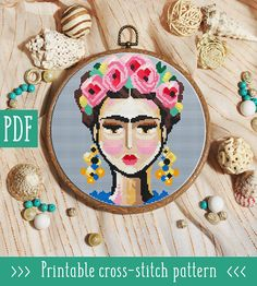 Frida Cross Stitch Pattern This pattern is an instant download PDF. Size: 86w x 119hstitches 14 count Sky blue or white Aida: approx. 6.14 x 8.50 inches or 15.60 x 21.59 cm Stitches Required: Full cross stitches Colors Required: 19 DMC floss colors PDF Included: - Pattern in color