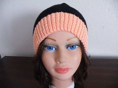 Knitted Pink and Black Hat