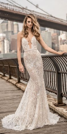berta spring 2018 bridal spaghetti strap deep plunging sweetheart neckline full embellishment sexy elegant fit and flare wedding dress open scoop back chapel train (6) mv -- Berta Spring 2018 Wedding Dresses