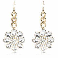 Gold tone crystal flower drop earrings $20.00