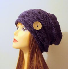 Chunky Button Hat Super Slouchy Beanie Baggy Hat Purple Winter Hat Women Winter Accessories Valentine's Day Gift Ideas Choose Your Color