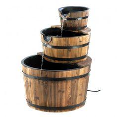 Rustic Three Tier Apple Barrel Outdoor Water Fountain - Main Image