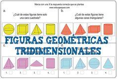 Formas y figuras geométricas tridimensionales primaria Repasamos matemáticas para primaria con estas 12 fichas con ejercicios de formas y figuras geométricas tridimensionales. En geometría son trid...