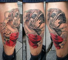 #tattoo #dog on calf