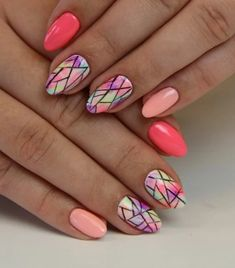 May Nails, Pink Nails, Hair And Nails, Cute Nails, Pretty Nails, Multicoloured Nails, Geometric Nail, Gel Nail Designs, Nails Design